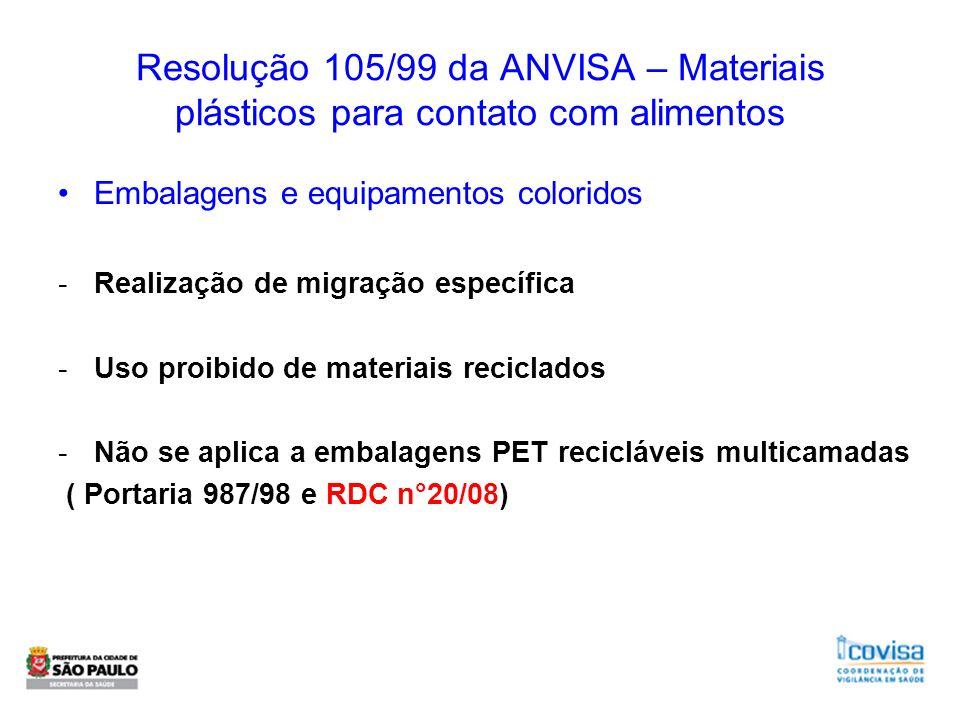Resolução 105/99 da ANVISA – Materiais plásticos para contato com alimentos Embalagens e equipamentos coloridos -Realização de migração específica -Us