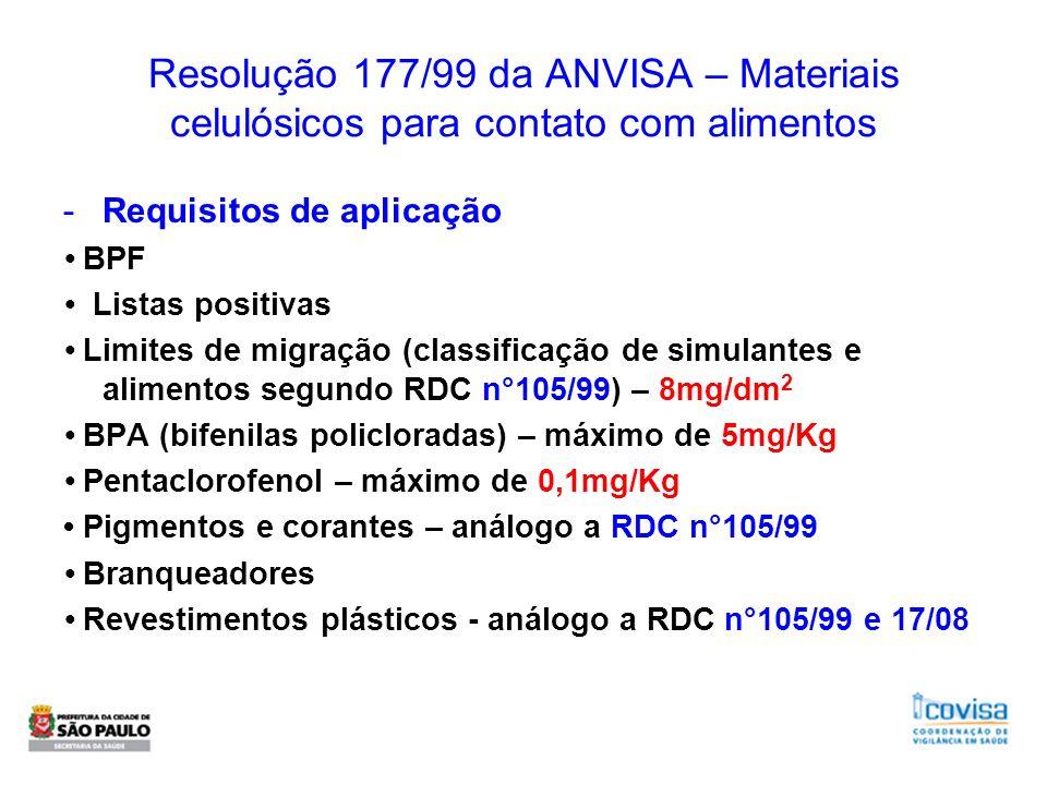 Resolução 177/99 da ANVISA – Materiais celulósicos para contato com alimentos -Requisitos de aplicação BPF Listas positivas Limites de migração (class