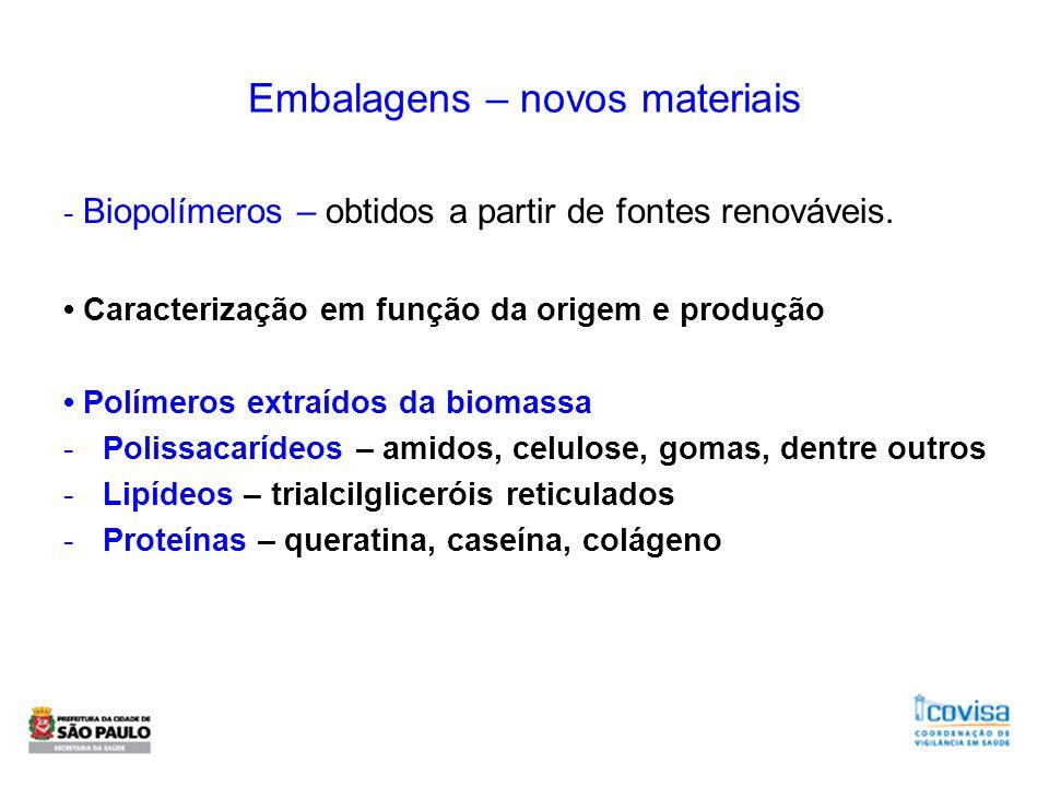 Embalagens – novos materiais - Biopolímeros – obtidos a partir de fontes renováveis. Caracterização em função da origem e produção Polímeros extraídos