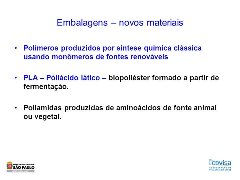 Embalagens – novos materiais Polímeros produzidos por síntese química clássica usando monômeros de fontes renováveis PLA – Póliácido lático – biopolié