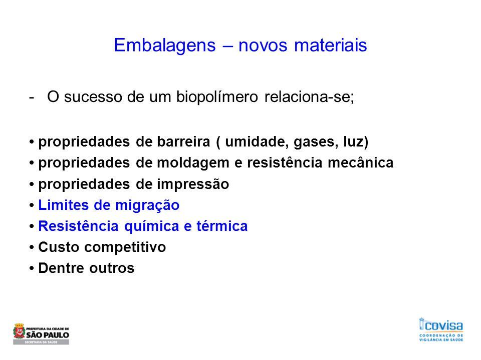 Embalagens – novos materiais -O sucesso de um biopolímero relaciona-se; propriedades de barreira ( umidade, gases, luz) propriedades de moldagem e res