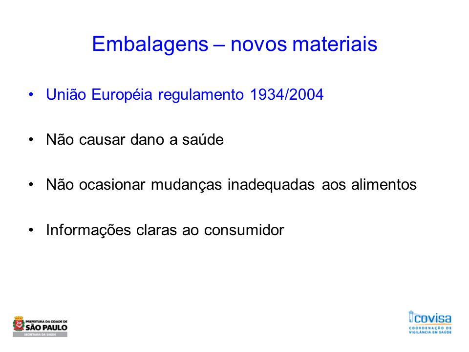 Embalagens – novos materiais União Européia regulamento 1934/2004 Não causar dano a saúde Não ocasionar mudanças inadequadas aos alimentos Informações