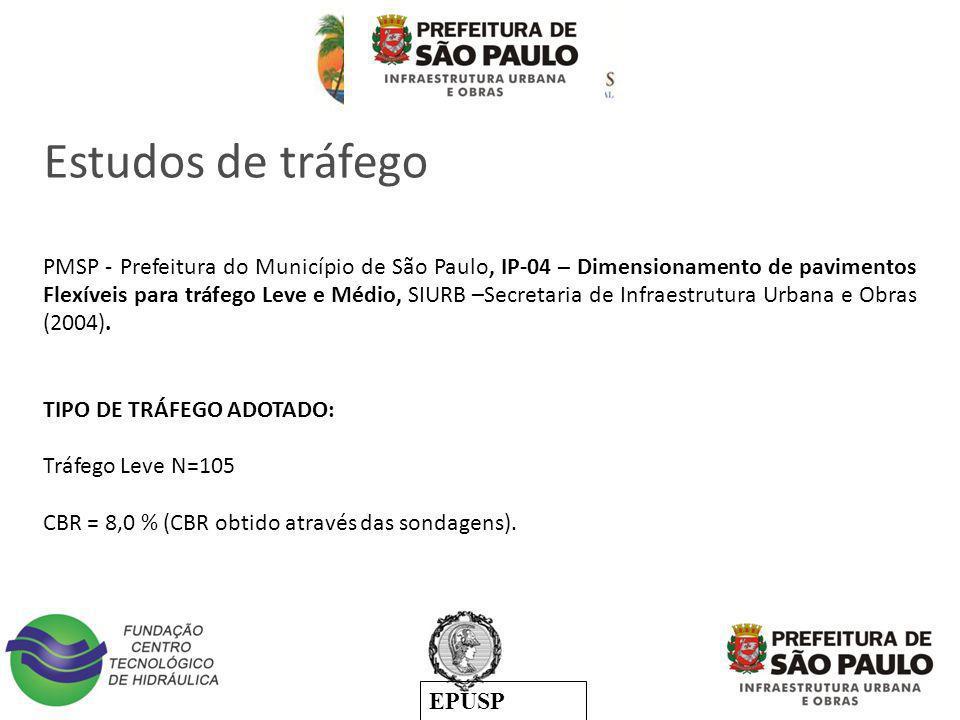 EPUSP TIPO DE TRÁFEGO ADOTADO: Tráfego Leve N=105 CBR = 8,0 % (CBR obtido através das sondagens). PMSP - Prefeitura do Município de São Paulo, IP-04 –