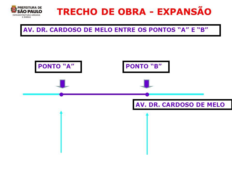 TRECHO DE OBRA - EXPANSÃO AV. DR. CARDOSO DE MELO ENTRE OS PONTOS A E B PONTO APONTO B AV. DR. CARDOSO DE MELO