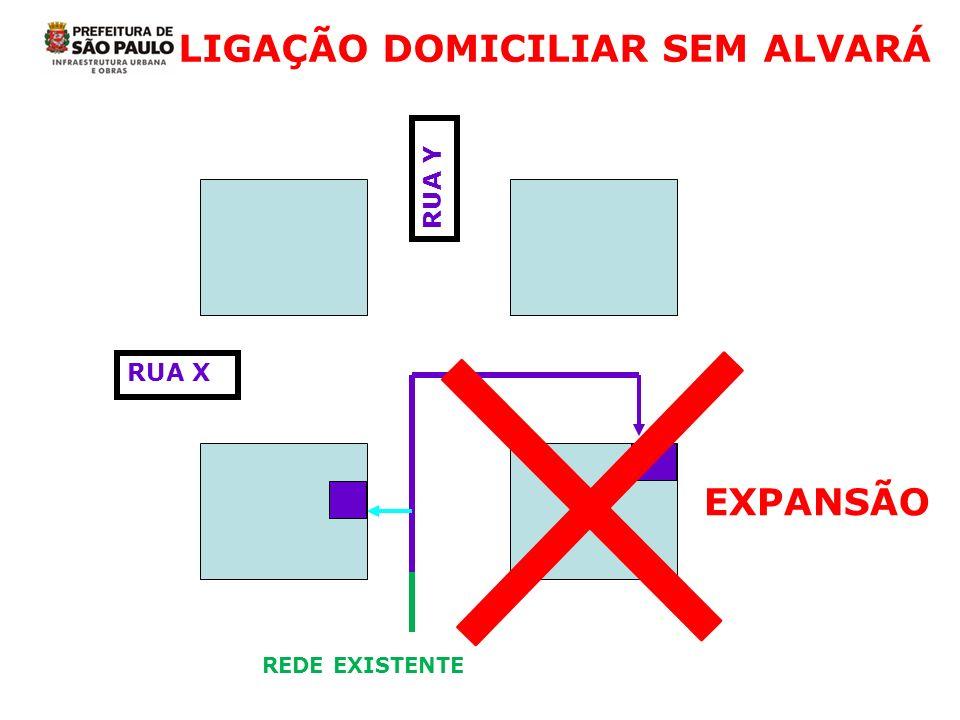 LIGAÇÃO DOMICILIAR SEM ALVARÁ RUA X RUA Y EXPANSÃO REDE EXISTENTE