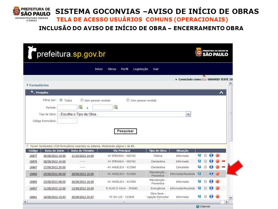 SISTEMA GOCONVIAS –AVISO DE INÍCIO DE OBRAS TELA DE ACESSO USUÁRIOS COMUNS (OPERACIONAIS) INCLUSÃO DO AVISO DE INÍCIO DE OBRA – ENCERRAMENTO OBRA