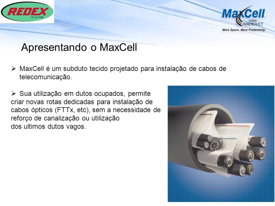 MaxCell é um subduto tecido projetado para instalação de cabos de telecomunicação. Sua utilização em dutos ocupados, permite criar novas rotas dedicad