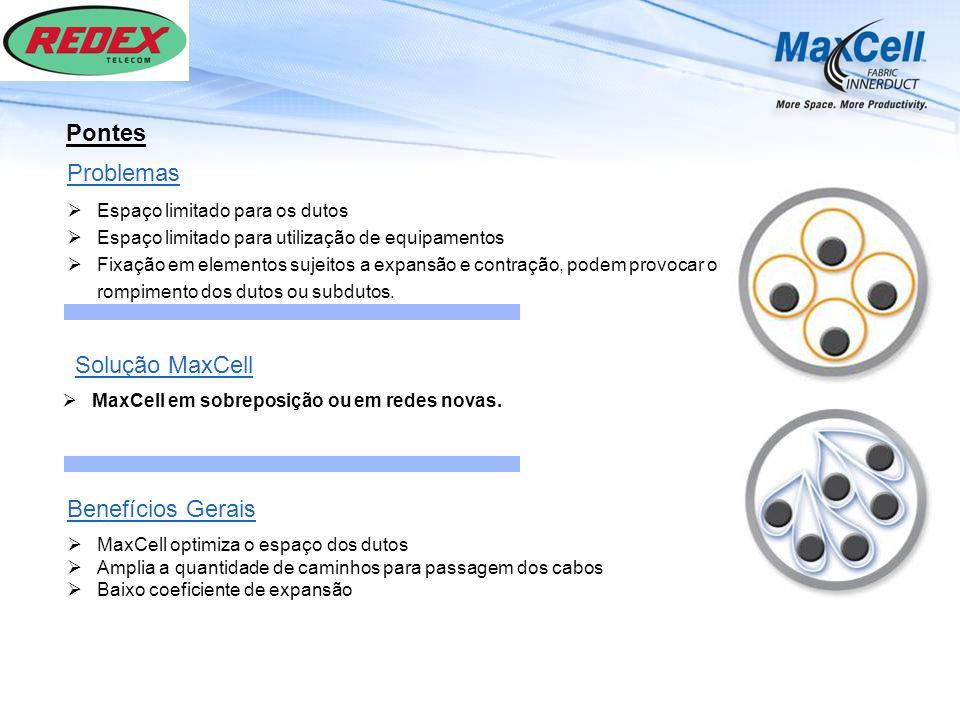 Pontes MaxCell em sobreposição ou em redes novas. Solução MaxCell Benefícios Gerais MaxCell optimiza o espaço dos dutos Amplia a quantidade de caminho