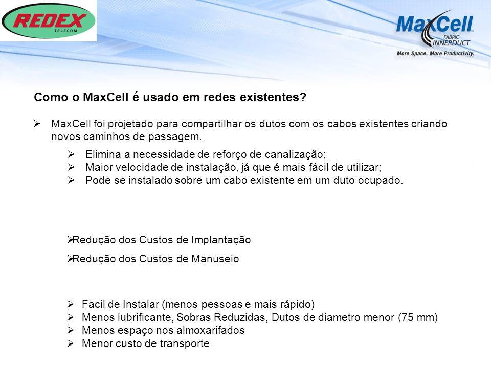 Como o MaxCell é usado em redes existentes? Redução dos Custos de Implantação Redução dos Custos de Manuseio Facil de Instalar (menos pessoas e mais r