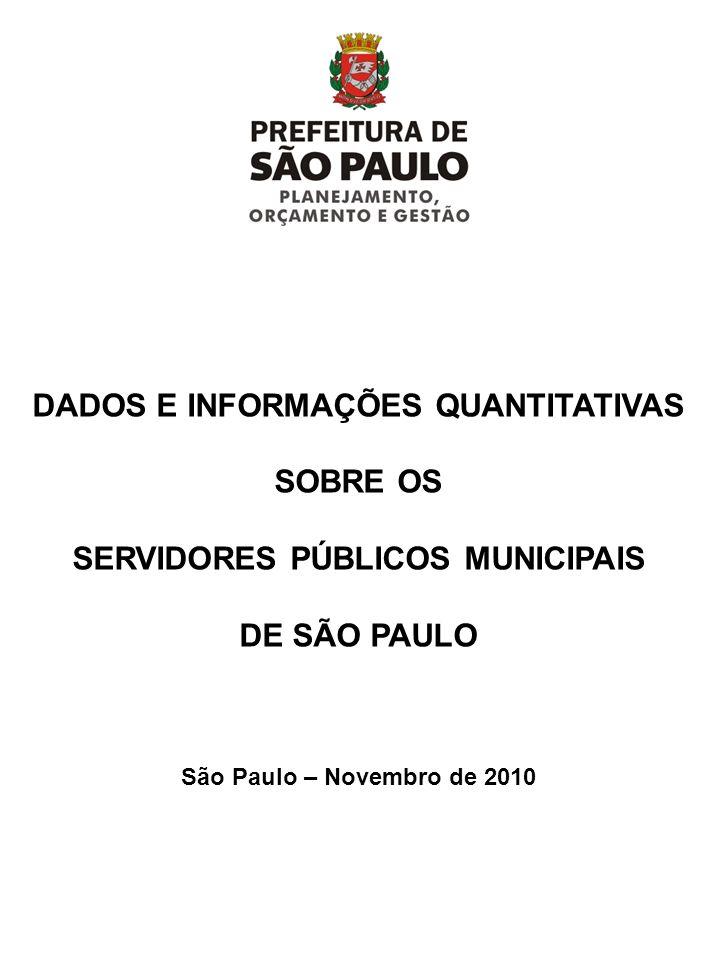 DADOS E INFORMAÇÕES QUANTITATIVAS SOBRE OS SERVIDORES PÚBLICOS MUNICIPAIS DE SÃO PAULO São Paulo – Novembro de 2010