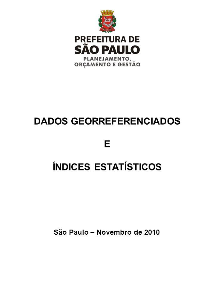 DADOS GEORREFERENCIADOS E ÍNDICES ESTATÍSTICOS São Paulo – Novembro de 2010