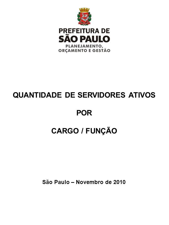 QUANTIDADE DE SERVIDORES ATIVOS POR CARGO / FUNÇÃO São Paulo – Novembro de 2010