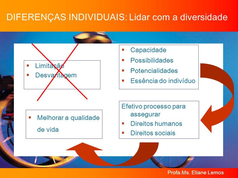 Profa.Ms. Eliane Lemos DIFERENÇAS INDIVIDUAIS: Lidar com a diversidade Limitação Desvantagem Capacidade Possibilidades Potencialidades Essência do ind
