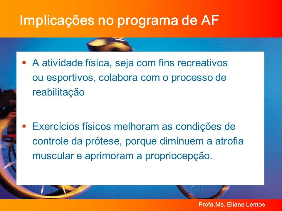 Profa.Ms. Eliane Lemos Implicações no programa de AF A atividade física, seja com fins recreativos ou esportivos, colabora com o processo de reabilita