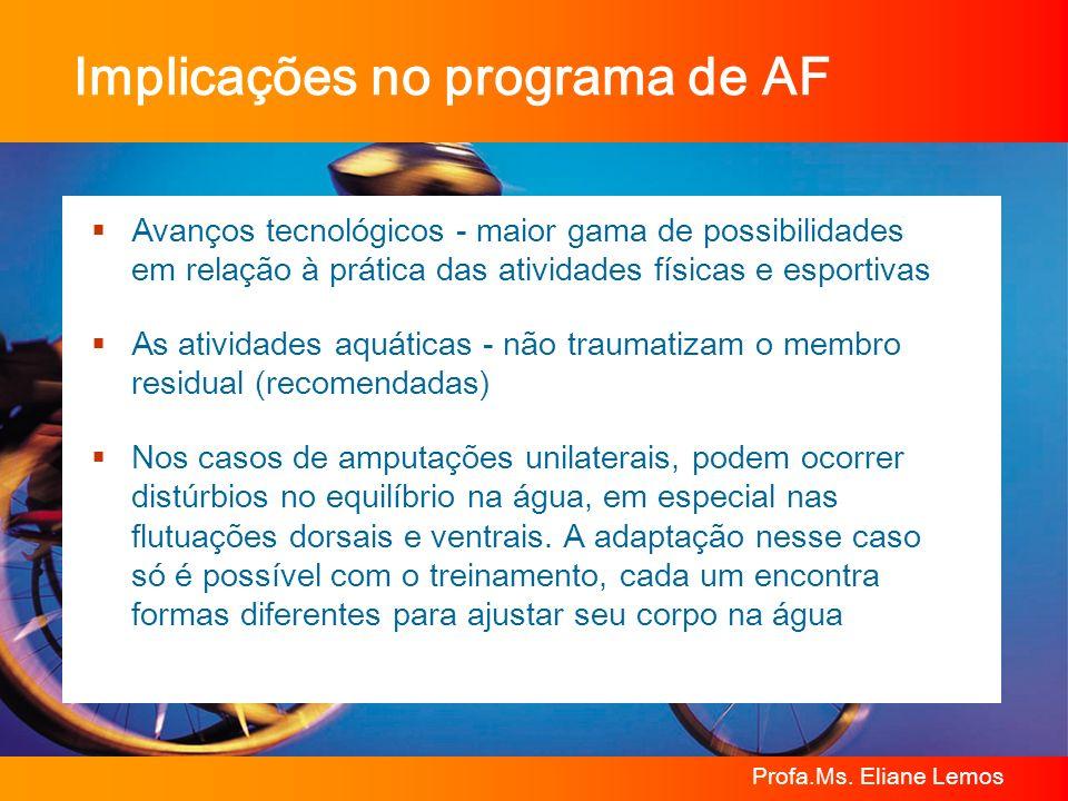 Profa.Ms. Eliane Lemos Implicações no programa de AF Avanços tecnológicos - maior gama de possibilidades em relação à prática das atividades físicas e