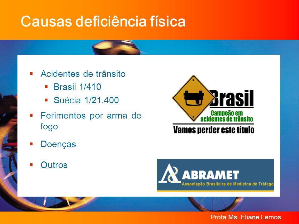 Profa.Ms. Eliane Lemos Acidentes de trânsito Brasil 1/410 Suécia 1/21.400 Ferimentos por arma de fogo Doenças Outros Causas deficiência física