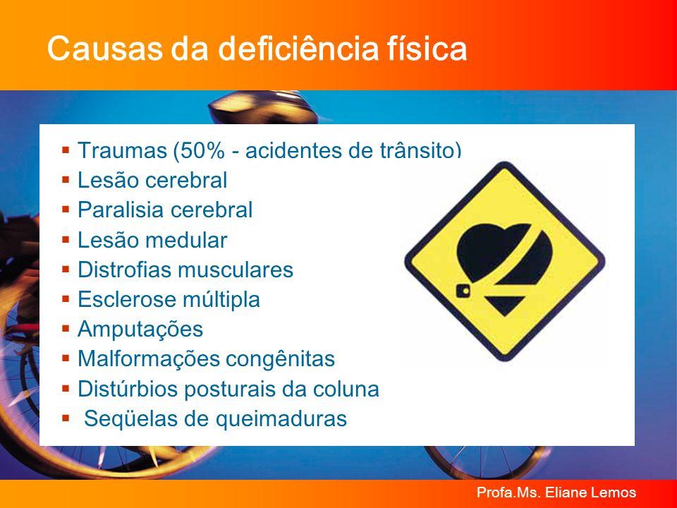 Profa.Ms. Eliane Lemos Traumas (50% - acidentes de trânsito) Lesão cerebral Paralisia cerebral Lesão medular Distrofias musculares Esclerose múltipla