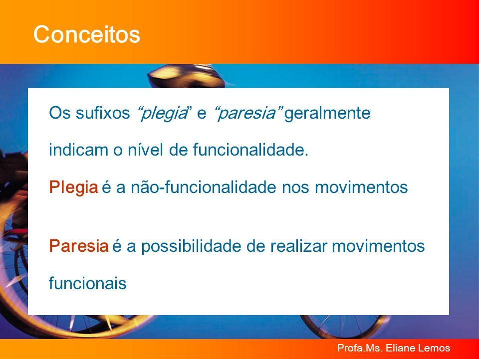 Profa.Ms. Eliane Lemos Conceitos Os sufixos plegia e paresia geralmente indicam o nível de funcionalidade. Plegia é a não-funcionalidade nos movimento