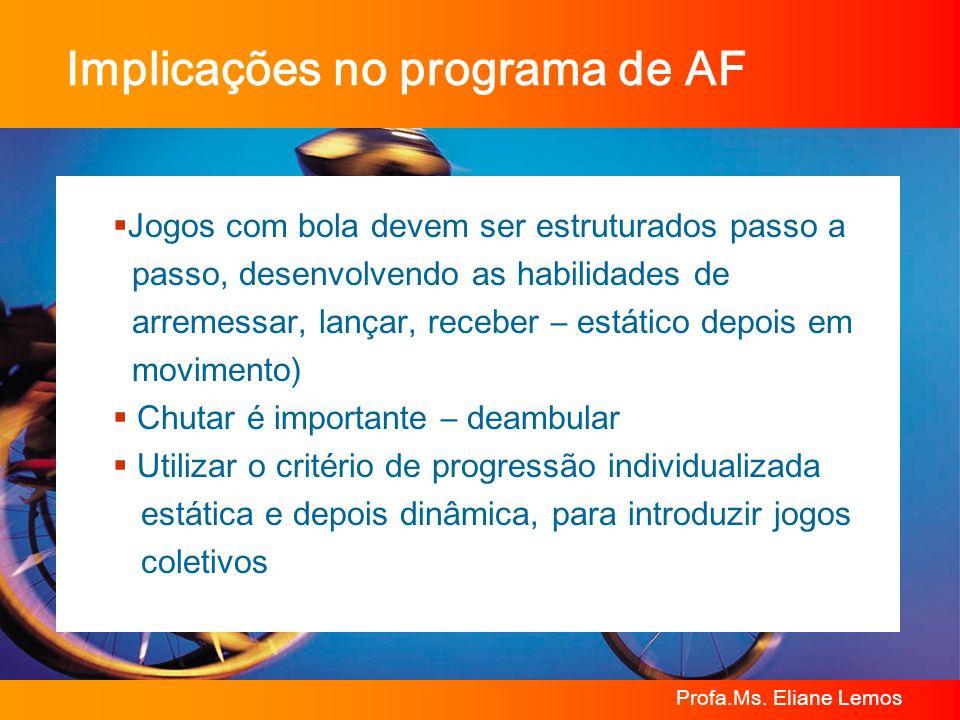 Profa.Ms. Eliane Lemos Implicações no programa de AF Jogos com bola devem ser estruturados passo a passo, desenvolvendo as habilidades de arremessar,