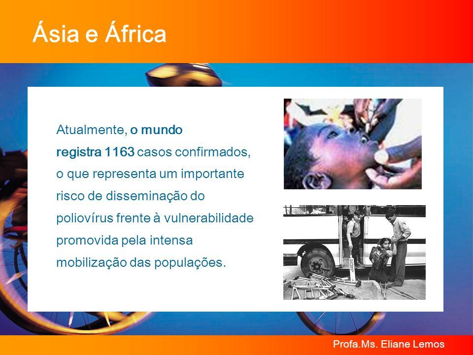 Profa.Ms. Eliane Lemos Ásia e África Atualmente, o mundo registra 1163 casos confirmados, o que representa um importante risco de disseminação do poli