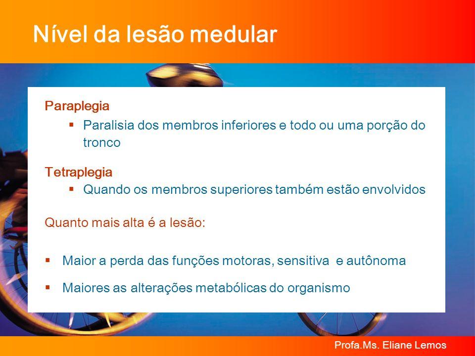 Profa.Ms. Eliane Lemos Paraplegia Paralisia dos membros inferiores e todo ou uma porção do tronco Tetraplegia Quando os membros superiores também estã