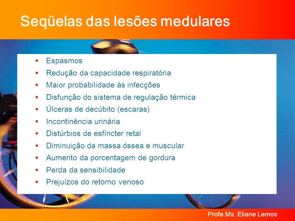 Profa.Ms. Eliane Lemos Seqüelas das lesões medulares Espasmos Redução da capacidade respiratória Maior probabilidade às infecções Disfunção do sistema