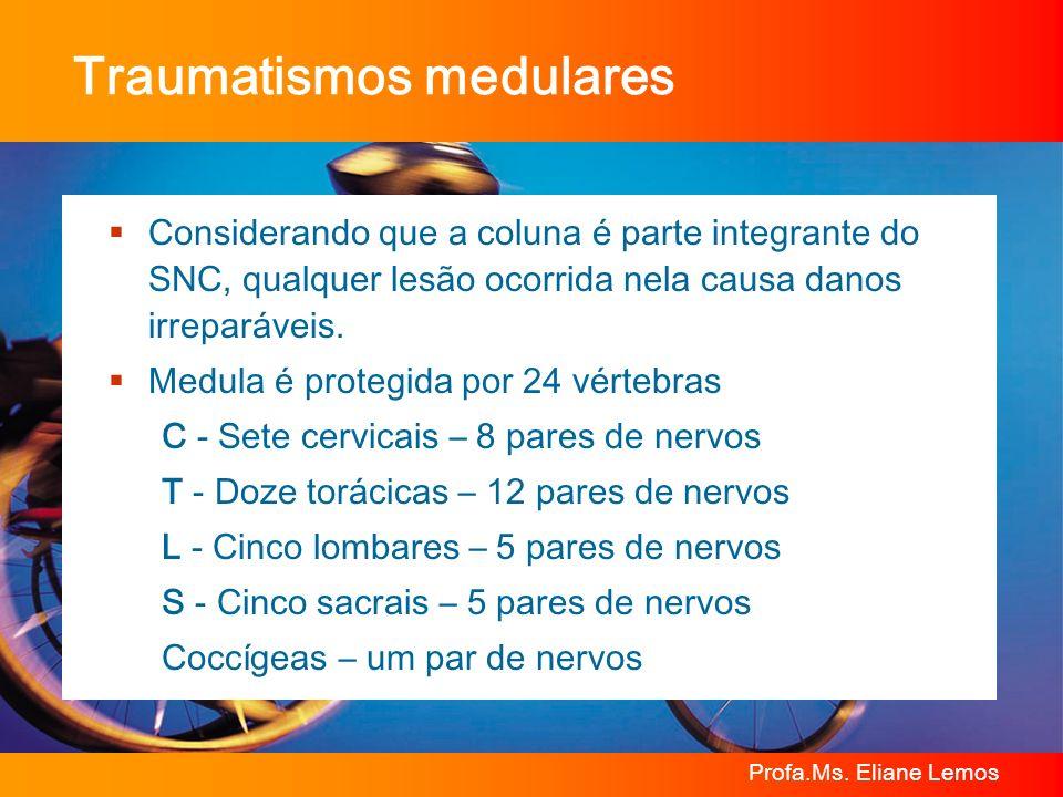Profa.Ms. Eliane Lemos Traumatismos medulares Considerando que a coluna é parte integrante do SNC, qualquer lesão ocorrida nela causa danos irreparáve