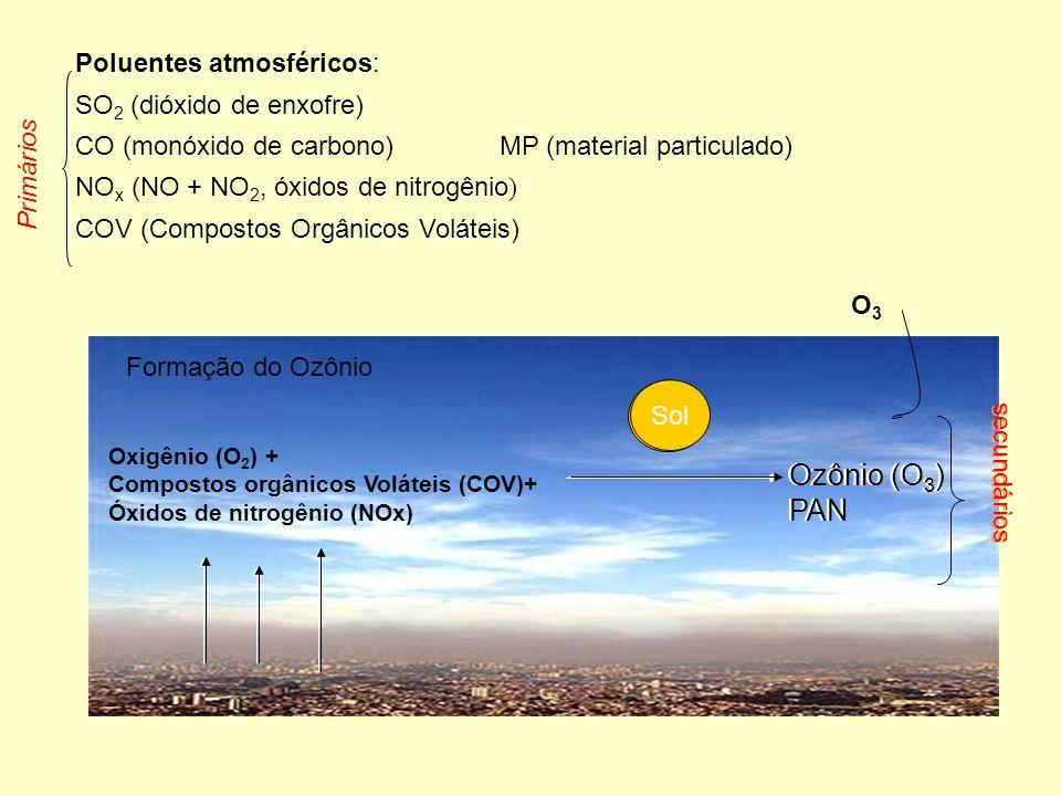 Poluentes atmosféricos: SO 2 (dióxido de enxofre) CO (monóxido de carbono) MP (material particulado) NO x (NO + NO 2, óxidos de nitrogênio ) COV (Compostos Orgânicos Voláteis) Formação do Ozônio Oxigênio (O 2 ) + Compostos orgânicos Voláteis (COV)+ Óxidos de nitrogênio (NOx) Ozônio (O 3 ) PAN Sol O3O3 Primários secundários Ozônio (O 3 ) PAN Sol secundários