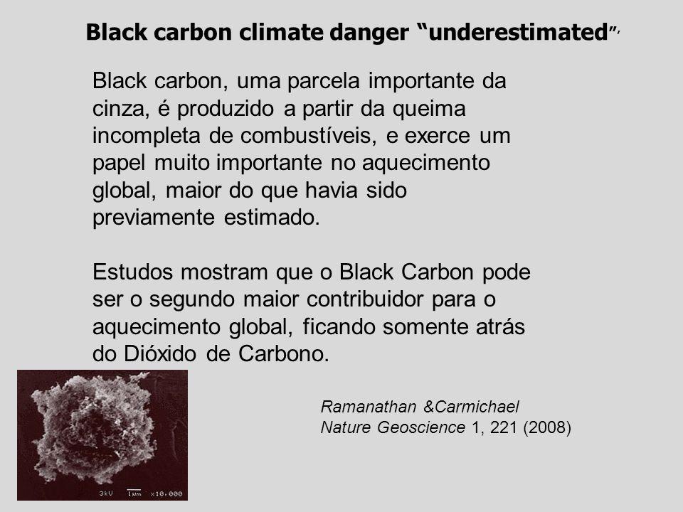 Ramanathan &Carmichael Nature Geoscience 1, 221 (2008) Black carbon climate danger underestimated Black carbon, uma parcela importante da cinza, é produzido a partir da queima incompleta de combustíveis, e exerce um papel muito importante no aquecimento global, maior do que havia sido previamente estimado.