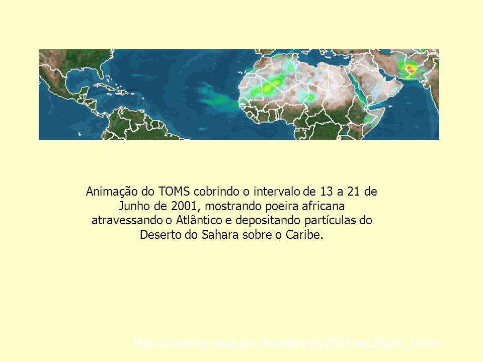 Animação do TOMS cobrindo o intervalo de 13 a 21 de Junho de 2001, mostrando poeira africana atravessando o Atlântico e depositando partículas do Deserto do Sahara sobre o Caribe.