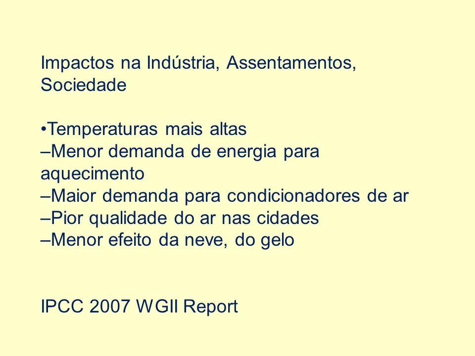 Impactos na Indústria, Assentamentos, Sociedade Temperaturas mais altas –Menor demanda de energia para aquecimento –Maior demanda para condicionadores de ar –Pior qualidade do ar nas cidades –Menor efeito da neve, do gelo IPCC 2007 WGII Report