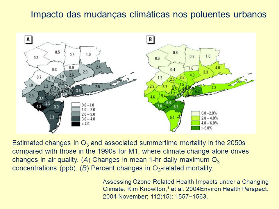 Estimated changes in O 3 and associated summertime mortality in the 2050s compared with those in the 1990s for M1, where climate change alone drives c