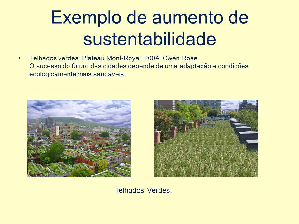 Exemplo de aumento de sustentabilidade Telhados verdes.