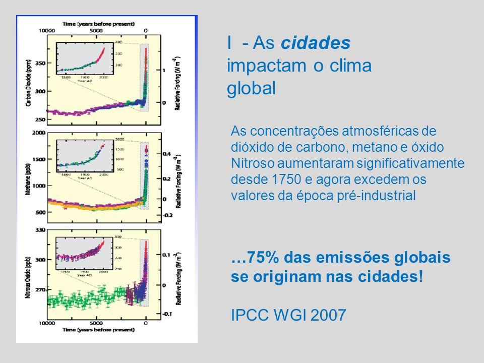 Global: mudanças climáticas Regional: Chuva ácida Ozônio Troposférico Aerossóis, gases efeito estufa Local: Poluição do Ar Efeitos à saúde Ilha de calor Pluma Pessoas I – O impacto no clima Fonte: WMO