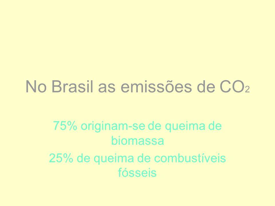 No Brasil as emissões de CO 2 75% originam-se de queima de biomassa 25% de queima de combustíveis fósseis
