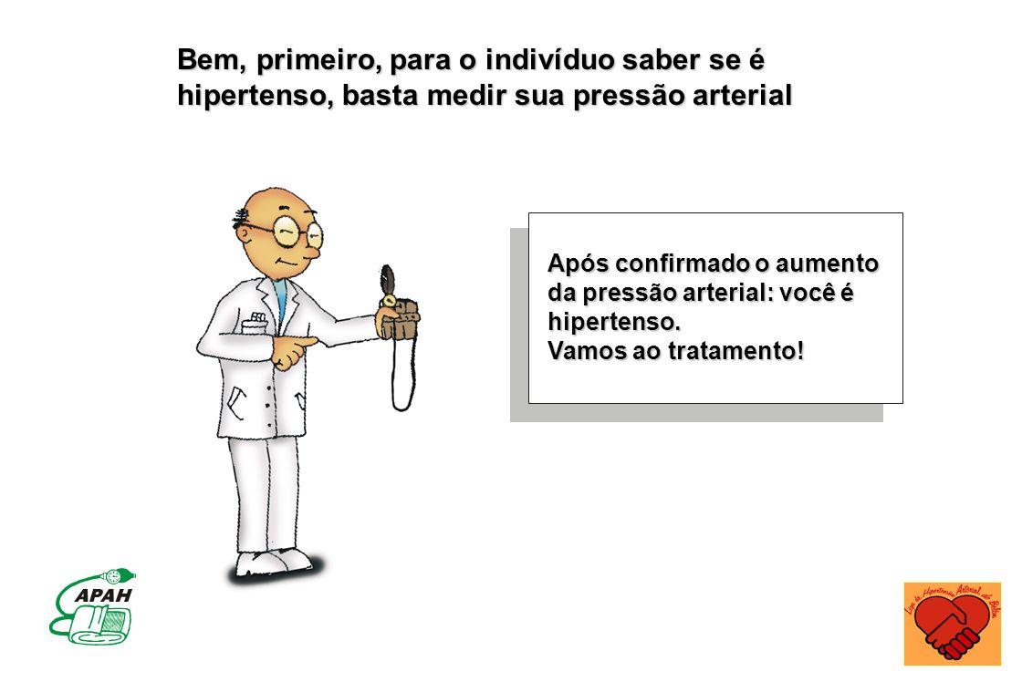 Após confirmado o aumento da pressão arterial: você é hipertenso. Vamos ao tratamento! Bem, primeiro, para o indivíduo saber se é hipertenso, basta me