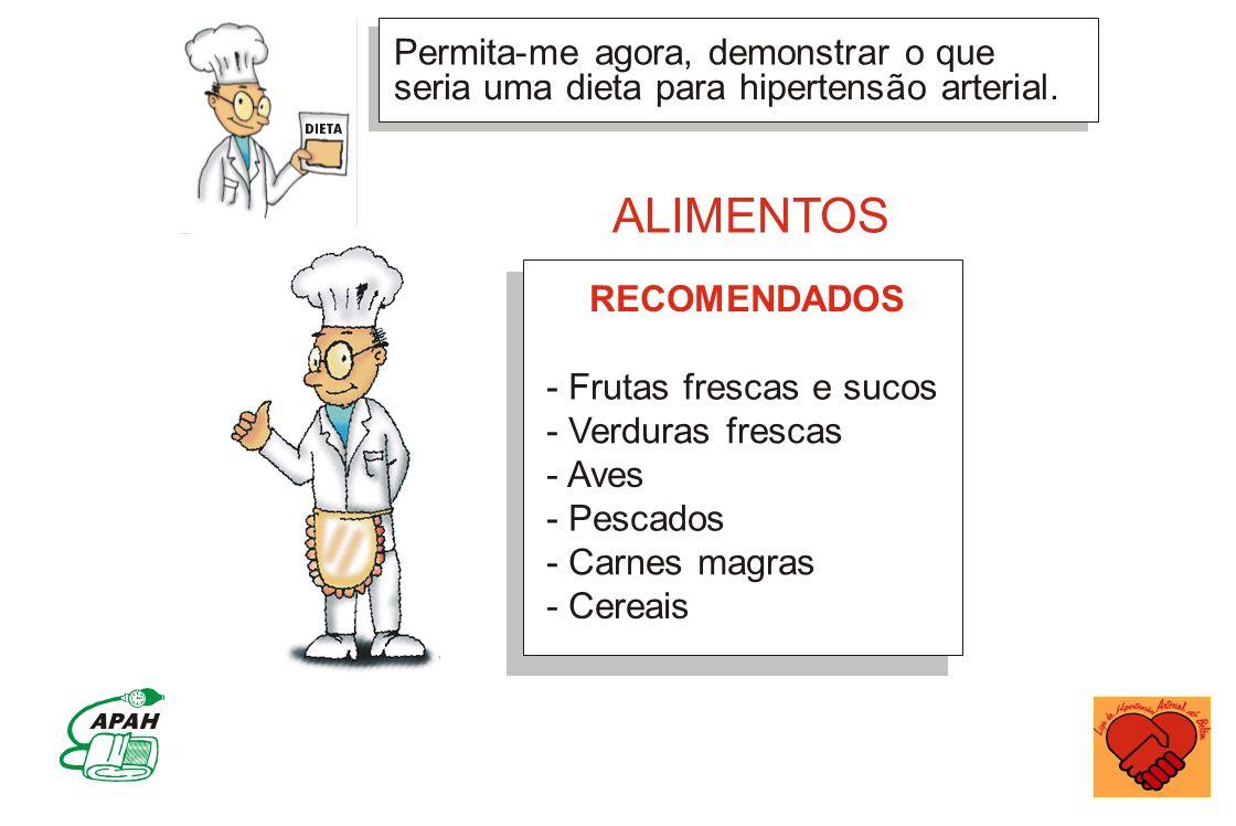 Permita-me agora, demonstrar o que seria uma dieta para hipertensão arterial. - Frutas frescas e sucos - Verduras frescas - Aves - Pescados - Carnes m