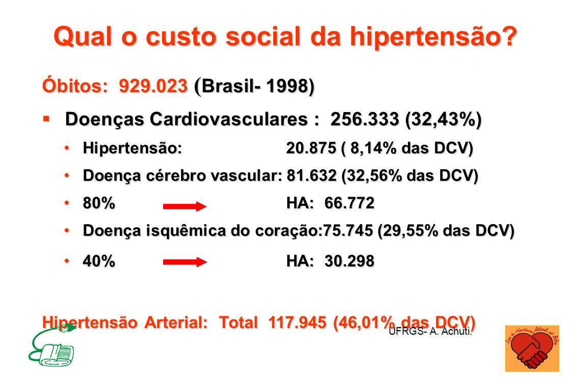 Qual o custo social da hipertensão? Óbitos: 929.023 ( Brasil- 1998) Doenças Cardiovasculares : 256.333 (32,43%) Doenças Cardiovasculares : 256.333 (32