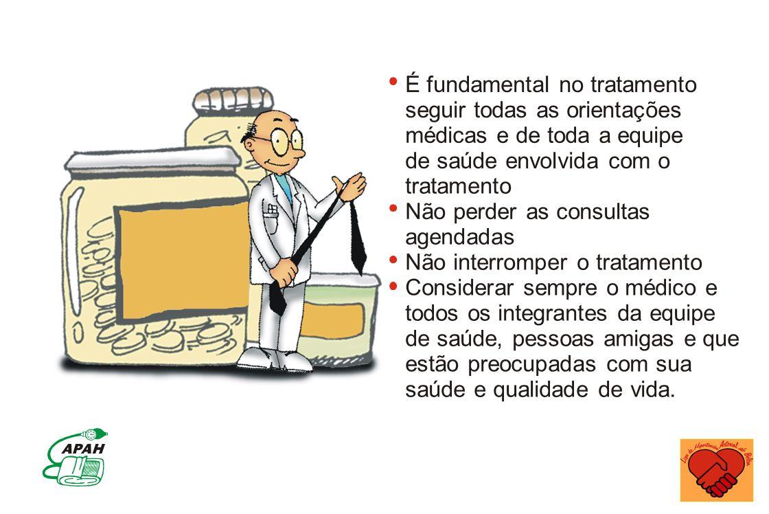 É fundamental no tratamento seguir todas as orientações médicas e de toda a equipe de saúde envolvida com o tratamento Não perder as consultas agendad