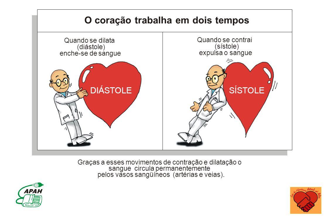 O coração trabalha em dois tempos Quando se dilata (diástole) enche-se de sangue Quando se contrai (sístole) expulsa o sangue DIÁSTOLESÍSTOLE Graças a