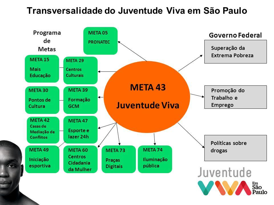 Transversalidade do Juventude Viva em São Paulo META 29 Centros Culturais META 74 Iluminação pública META 60 Centros Cidadania da Mulher META 30 Ponto