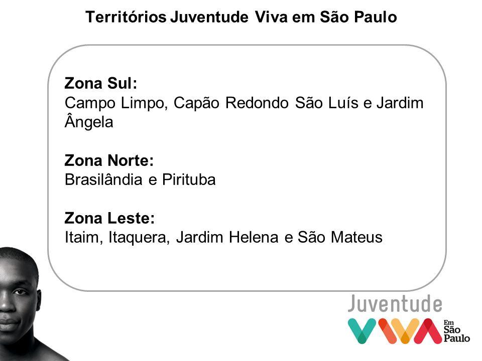 Territórios Juventude Viva em São Paulo Zona Sul: Campo Limpo, Capão Redondo São Luís e Jardim Ângela Zona Norte: Brasilândia e Pirituba Zona Leste: I