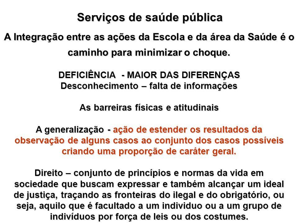 Serviços de saúde pública DEFICIÊNCIA - MAIOR DAS DIFERENÇAS Desconhecimento – falta de informações As barreiras físicas e atitudinais A generalização