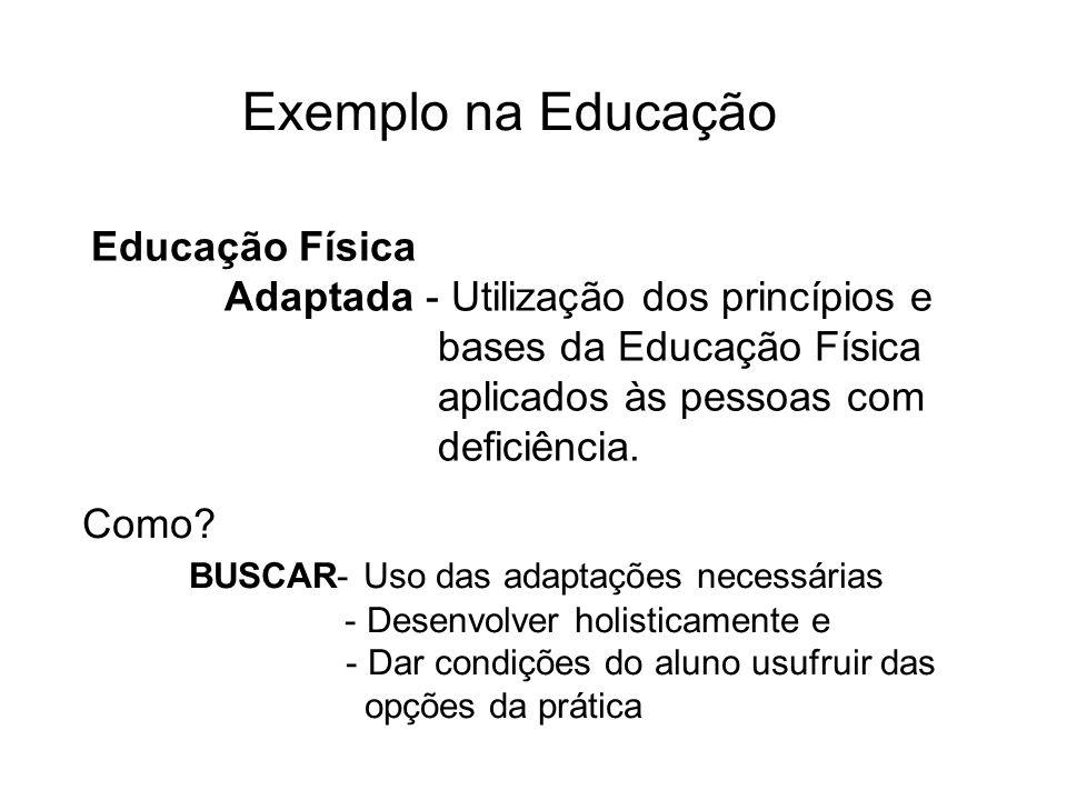 Educação Física Adaptada - Utilização dos princípios e bases da Educação Física aplicados às pessoas com deficiência. Como? BUSCAR- Uso das adaptações