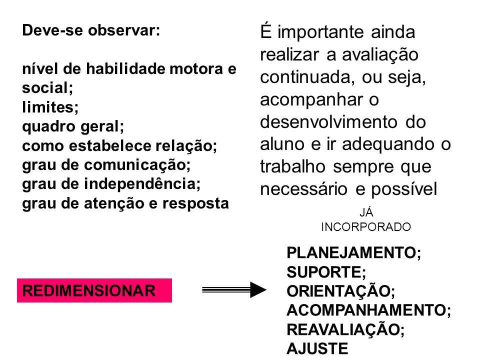 Deve-se observar: nível de habilidade motora e social; limites; quadro geral; como estabelece relação; grau de comunicação; grau de independência; gra