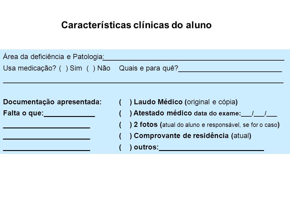 Área da deficiência e Patologia:___ __________________________ Usa medicação? ( ) Sim ( ) Não Quais e para quê?__________________________ ____________