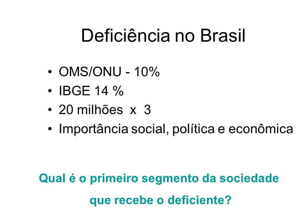 OMS/ONU - 10% IBGE 14 % 20 milhões x 3 Importância social, política e econômica Deficiência no Brasil Qual é o primeiro segmento da sociedade que rece