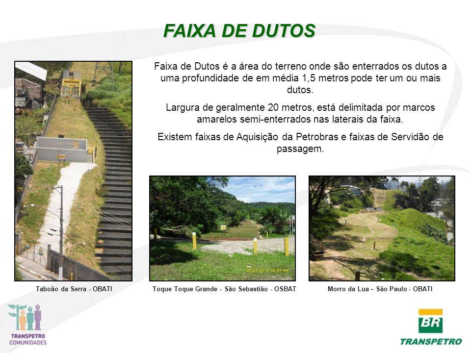 FAIXA DE DUTOS Faixa de Dutos é a área do terreno onde são enterrados os dutos a uma profundidade de em média 1,5 metros pode ter um ou mais dutos.