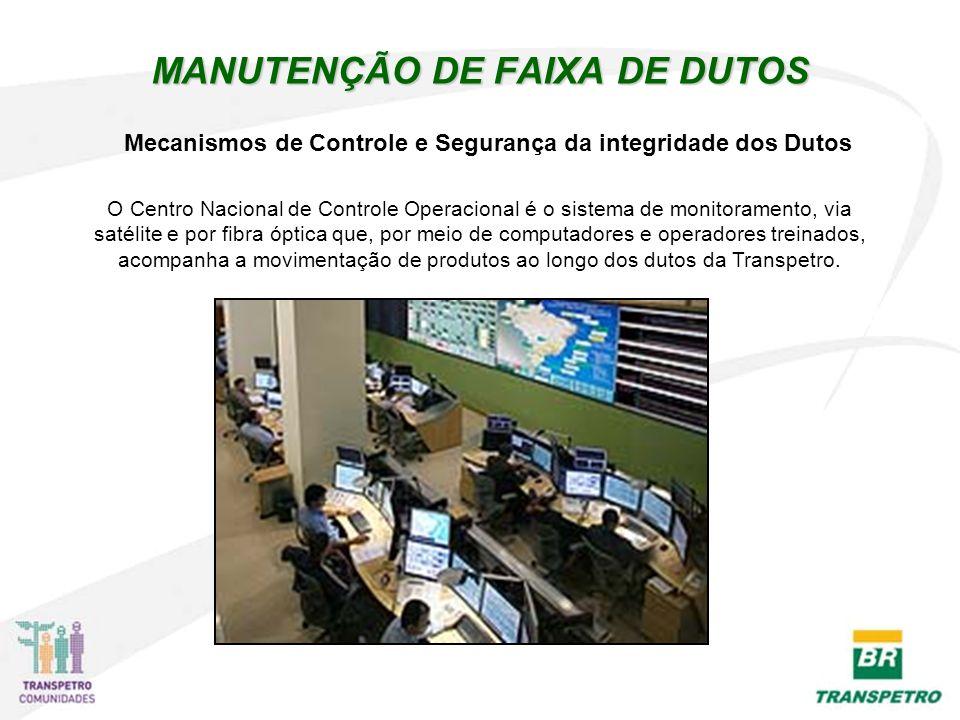 MANUTENÇÃO DE FAIXA DE DUTOS O Centro Nacional de Controle Operacional é o sistema de monitoramento, via satélite e por fibra óptica que, por meio de