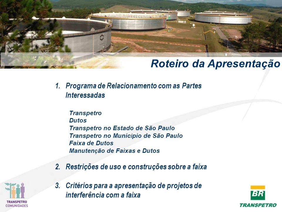 Roteiro da Apresentação 1. 1.Programa de Relacionamento com as Partes Interessadas Transpetro Dutos Transpetro no Estado de São Paulo Transpetro no Mu